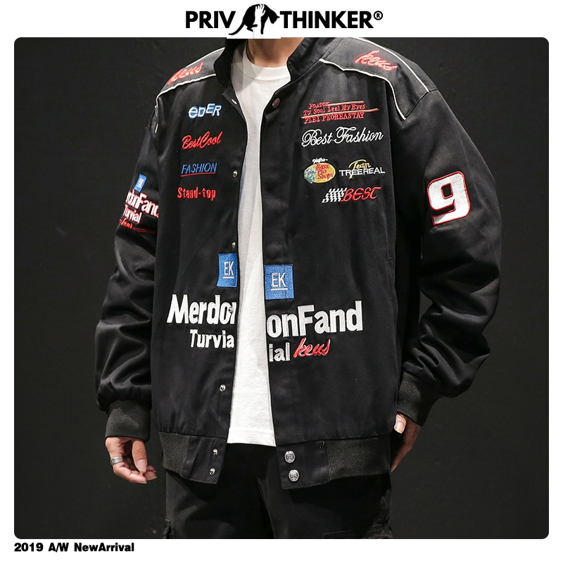Privathinker Vintage Embroidery Hip Hop Mens Jacket Safari Style Streetwear Harajuku 2019 Men Jackets Cotton Male Windbreak 5XL