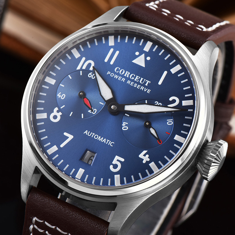 Pilot Power Reserve Automatic Mechanical Watch Men Military 42mm Luxury Brand Clock Seagull St2532 Stainless Steel Leather Blue