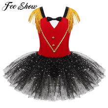 Kids Girls Halloween Ringmaster Circus Costume Tassel Sequins Mesh Tutu Ballet Dress Gymnastics Leotard Performance Dance Wear