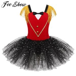 Image 1 - Kids Girls Halloween Ringmaster Circus Costume Tassel Sequins Mesh Tutu Ballet Dress Gymnastics Leotard Performance Dance Wear