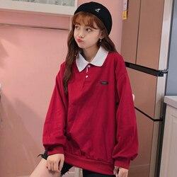 Polo Hoodies Women Printed Loose Long Sleeve Pullovers Sweatshirts Korean BF Ulzzang Fashion Streetwear Womens Casual Comfort