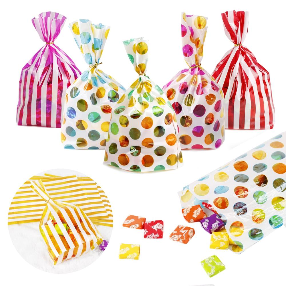 QIFU Colorful Dot Stripes Opp Plastic Candy Bags Wedding Birthday Party Supplies Cookie Gift Bag Packaging Bag Pouch Gift Box
