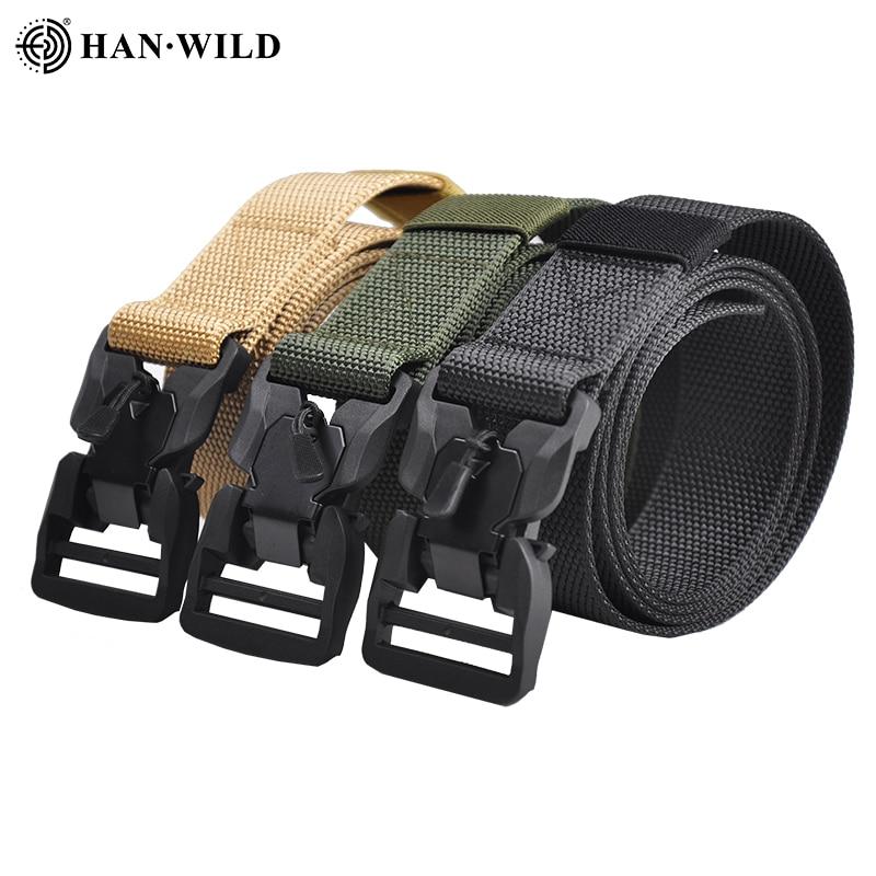 Tactical Belt Military Nylon Belt New Mens Hard Metal Quick Release Magnetic Buckle Mens 3.8mm Soft Real Nylon Sports Belt 135cm