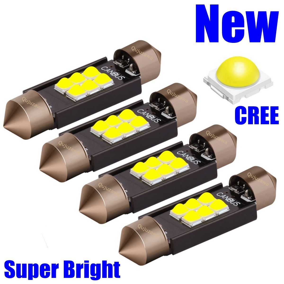 4Pcs Festoon 31Mm 36Mm 39Mm 41Mm Lampu LED C5W C10W Super Bright LED Canbus Tanpa kesalahan Auto Interior Doom Lampu Mobil Lampu Baca