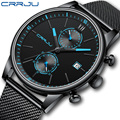 2021 часы мужские s CRRJU Топ бренд нержавеющая сталь водонепроницаемые часы мужские часы военные дайвинг кварцевые наручные часы хронограф