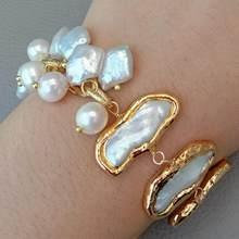 YYGEM 8'' Natural Freshwater White Biwa Keshi Pearl pave Potato Pearl gold plated Chain wrap Bracelet