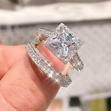 Exquisite Silver Ring Set Princess Cut Crystal Zircon Wedding Ring Set White Blue Gems Engagement Ring Anniversary Jewelry Gifts exquisite gold princess cut white zircon wedding ring bridal engagement ring anniversary jewelry birthday christmas gifts