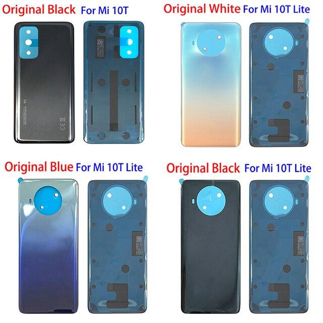 100% 오리지널 신제품 Xiaomi Mi 10T 11 Lite 백 유리 배터리 커버 후면 하우징 도어 케이스 배터리 커버 (접착 테이프 포함)