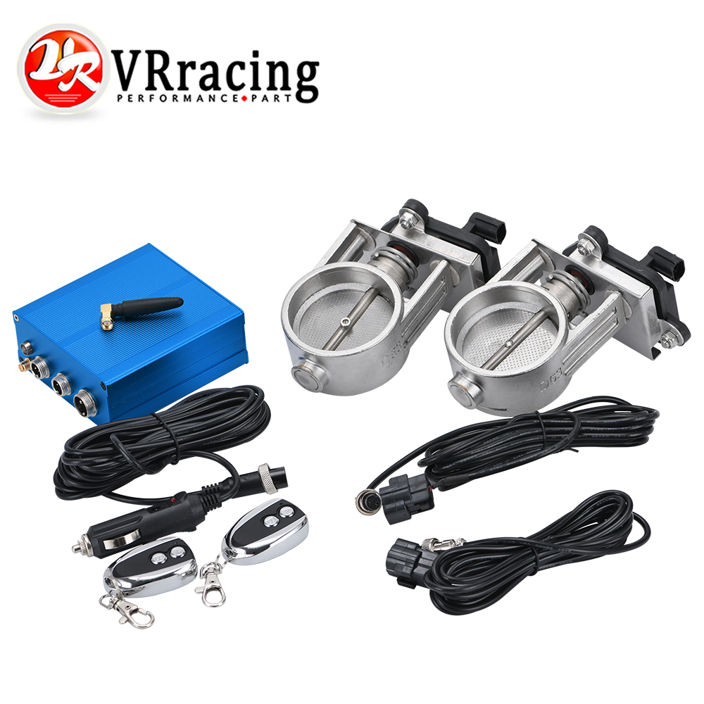 """2 SETS 2.5/"""" INCH 63mm Vacuum Exhaust Cutout Electric Control Valve Kit With Pump"""