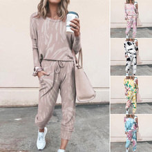 Women's Fashion Tie Dye Printing Round Neck Casual Long Sleeve Homewear Suit