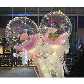 Diy światło z różanymi balonami urodziny dzień matki prezent dekoracje ślubne jasne kulki Led Luminous balon bukiet róż tanie i dobre opinie CN (pochodzenie) Ballon 1 pc