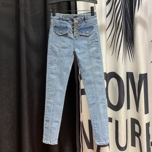 Single Breasted Pull Pleated Jeans Women's 2020 Spring Autumn New Fashion Slim-Fit Pencil Pants High Waist Jeans Ladies Pants