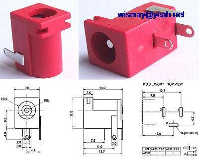 DHL/EMS  1000 PCS Red 5.5mm X 2.1mm DC Socket 2.0 Mm DC Plug PCB Panel Soldering DC-005B-A8