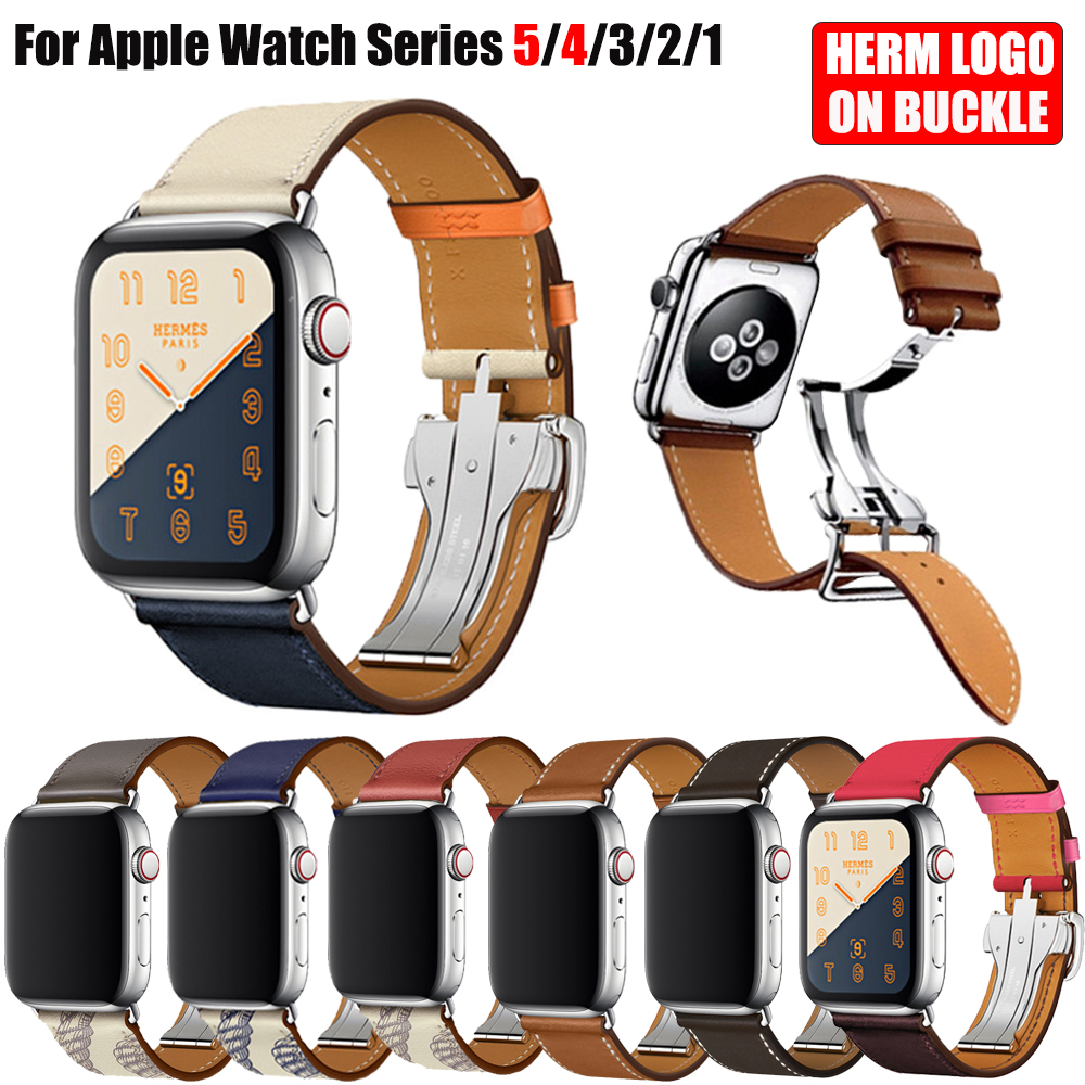 Herm Logo On Metal Buckle Band For Apple Watch Series 5 4 3 2 1 44mm 40mm Watchbands Genuine Leather Strap Bracelet For IWatch 5
