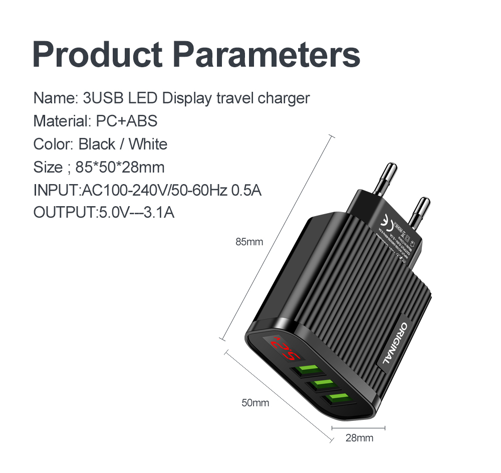 5V 3.1A Display USB Charger For iPhone Charger 3 Ports Fast Charging Wall Phone Charger For iPhone Samsung Xiaomi USB Adapter 3