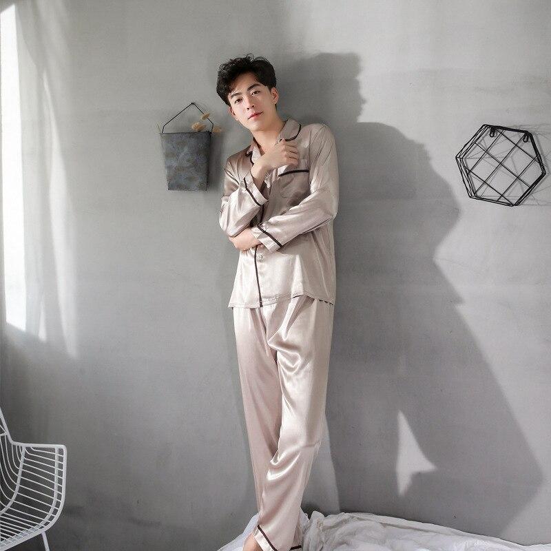Сплошной цвет мужская мода скольжения с длинным рукавом длинные брюки досуг лацкан топы пижамы V-образным вырезом кардиган плюс размер шелковые пижамы набор