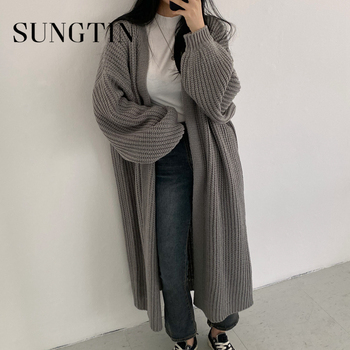 Sungtin Casual Long Knitted Cardigan Women Vintage Black Loose Sweater Coat Solid Oversized Jumper Outwear Autumn Winter 3 Color 1