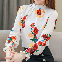 Fashion Autumn Women Blouses Elegant Chiffon Blouse Shirt Woman Print OL Plus Size Blusas Mujer De Moda 2019