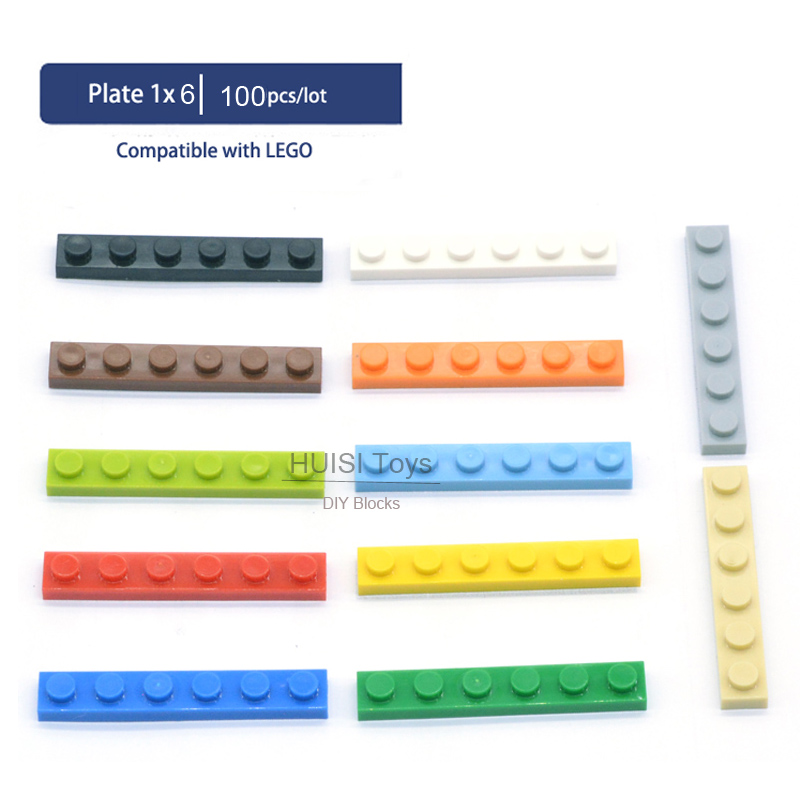 Children Educational Learning Toys 1x6 Short Plastic Bricks Parts Compatible With Legoes Building Blocks SetDIY Toys 100pcs/lot