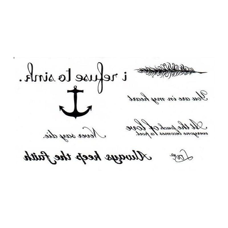 Английская буква якорь перо тату ручная татуировка тело водонепроницаемый Временная вспышка fakeTattoo наклейка маленькая татуировка для