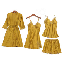 Robe Suit Sexy Pajamas Gown Set Womens V-Neck Cami Nighties 4PC Lace Wear Pijama Print Home Nightwear Lingerie Spring Chest Pads