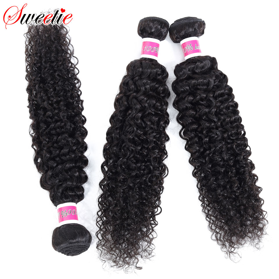 Image 5 - Sweetie Indian Hair Afro Kinky Curly Hair Extensions 100% Human Hair Weave Bundles Natural Color 3/4 Pieces 100G Non Remy-in Hair Weaves from Hair Extensions & Wigs