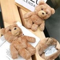 Teddy Bear Auricolare Senza Fili di Caso Per AirPods 1 2 Caso Sveglio Antiurto di Protezione Della Copertura Per Apple AirPods2