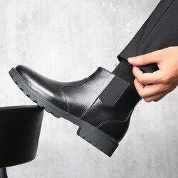2019 Genuína Botas De Couro Chelsea Homens Inverno Sapatos de Pelúcia Quentes para Homens Frios Do Inverno Ankle Boots Calçados Casuais Masculinos A1804
