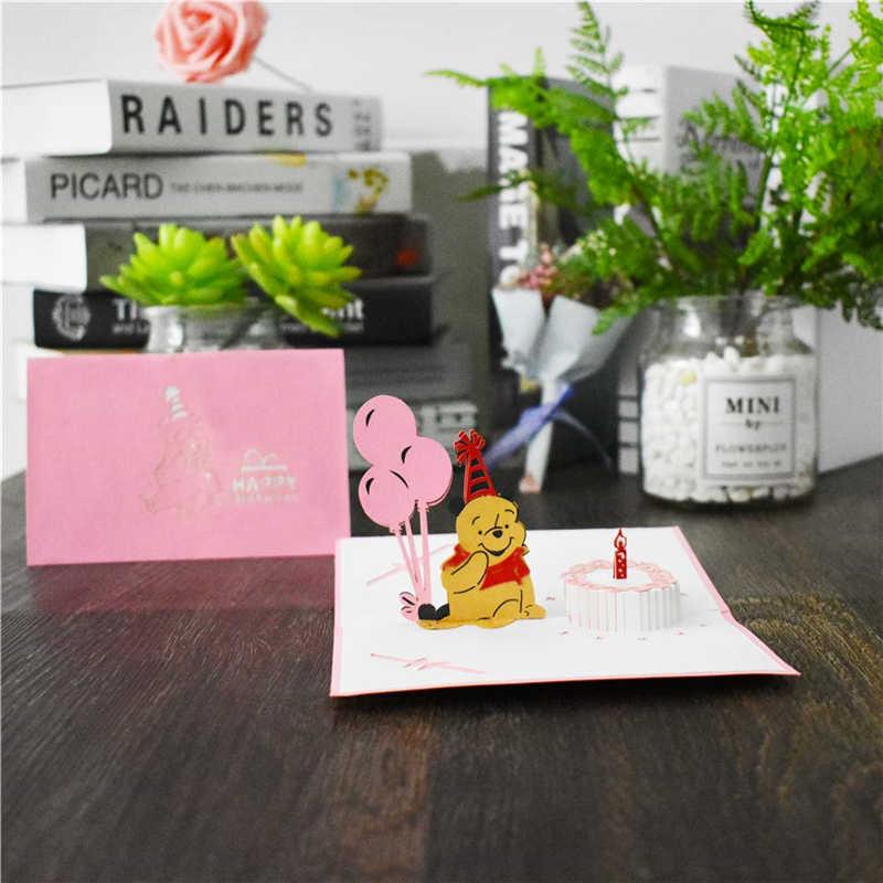3D всплывающие карты открытки на день рождения для девочек, детей, жены, жены, торта на день рождения, поздравительные открытки, подарки, открытки с конвертами, наклейки