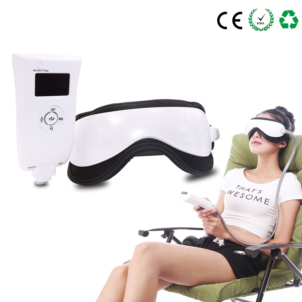 Beurha Electric DC Vibration Eye Massager Machine Music Magnetic Air Pressure Infrared Heating Massage Glasses Eyes Care Device