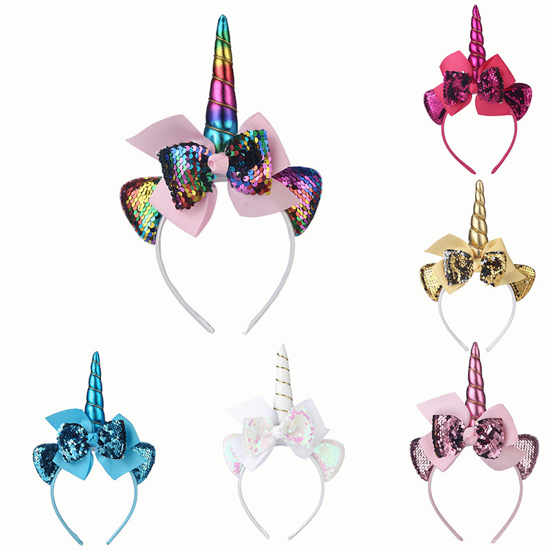 Nishine New Unicorn Hairbands for Kids Girls Party   Headwear   Sequin Ribbon Bows Headbands for Children Photography Props