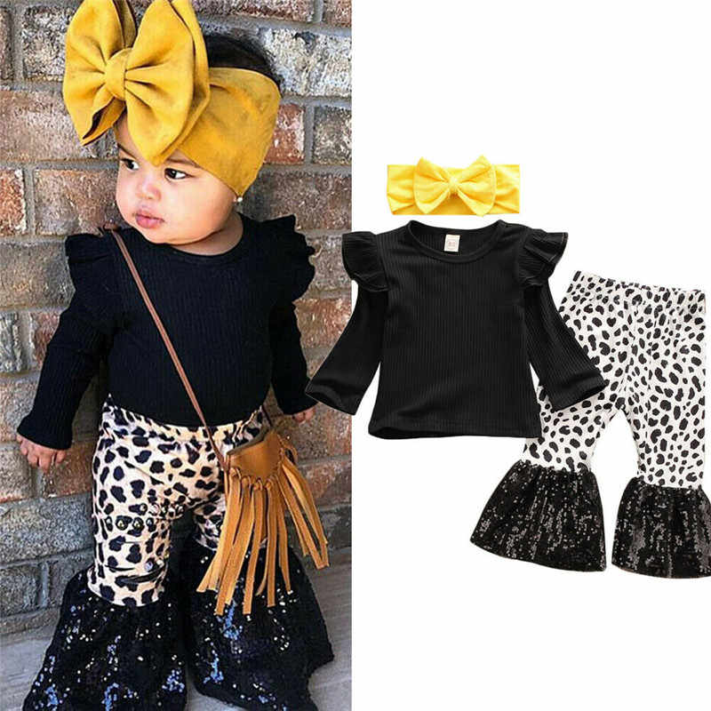 3pcs Fashion Herfst Kid Baby Meisjes Lange Mouw Top T-shirt Flare Broek Bell Bottom Trainingspak Outfit Set 6M-4Y