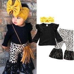 Комплект из 3 предметов, модный осенний топ с длинными рукавами для маленьких девочек, футболка брюки-клеш спортивный костюм с расклешенным ...