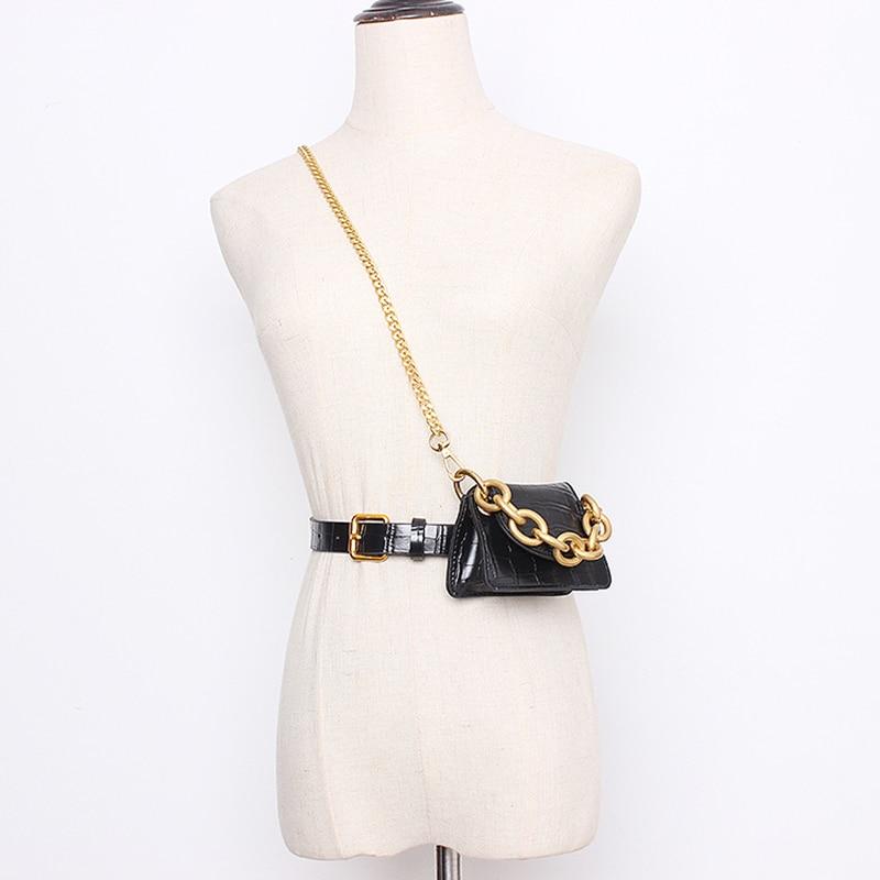 Multicolor Chain Mini-bag Pu Leather Long Belt Personality Women New Fashion Tide All-match Autumn Winter 2020