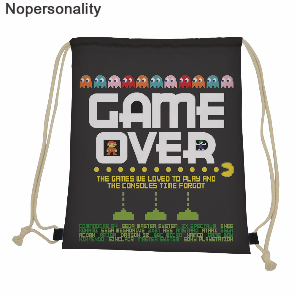 Nopersonality Drawstring Backpack Kids Personality Game Over Printing Men's Draw String Bags Fashion Outside Storage Bags