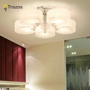 Nuevo 2019 luces de techo modernas de diseño moderno de comedor lámpara colgante de Teo de cristal blanco sombra acrílico lustre