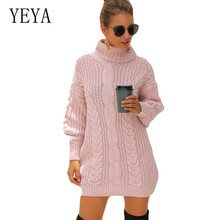 YEYA Autumn Turtleneck Twist Knitting Sweater Women Solid Long Sleeve Hollow Out Pullover Jumper Winter Clothes