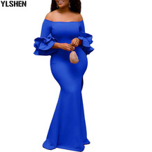African Dresses For Women Party Dashiki Ruffle Sleeve Robe African Dress Africa Clothes Off the Shoulder Evening Long Maxi Dress