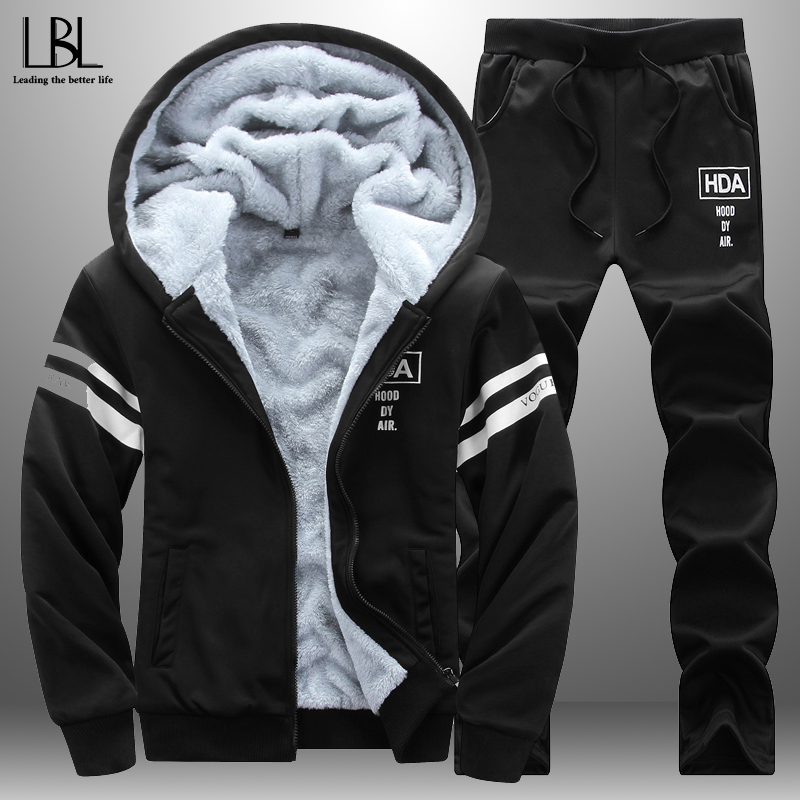 2019 New Men's Autumn Winter Tracksuit Men Set Thick Warm Hoodie + Sweatpants Casual Tracksuits Sportswear Suits Fitness Outwear