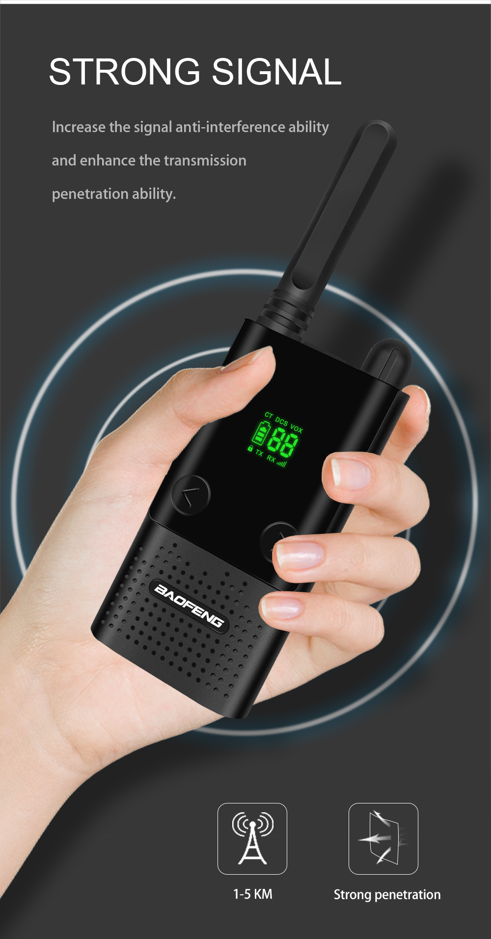 Slim Ασύρματος Φορητός Πομποδέκτης UHF 5W με VOX & 99 Κανάλια - Baofeng