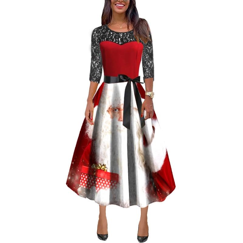 Echoine Women maxi dresses Christmas long-sleeved lace stitching dress female
