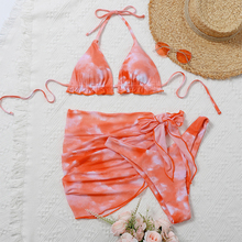 Female Swimsuit Skirt Bikini-Set 3pieces HALTER Mesh Women Short Tie-Dye New