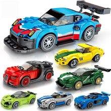 Velocidade campeões modelo de carro blocos de construção brinquedos para crianças veículos da cidade super esporte carro de corrida brinquedos