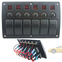 New Plastic Panel Switch and Red Single Bar Switch Combination Panel with PCB and Overload Protector for Yacht / Ship / RV