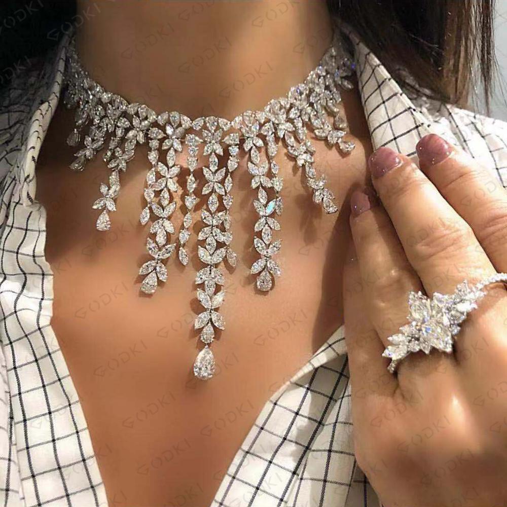 GODKI luxe fleur glands pendentif collier pour breloque femmes mariage plein cubique Zircon mode fête bijoux cadeau 2020