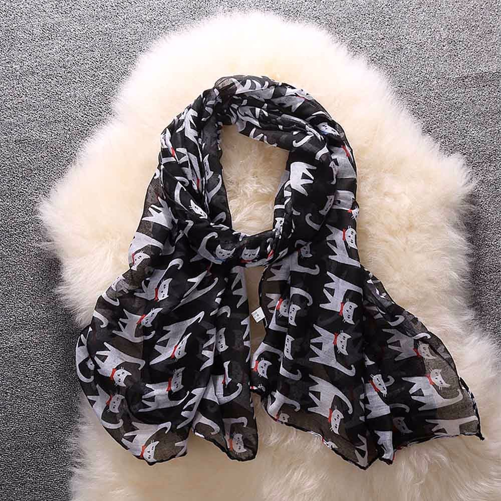 Women Bowknot Cat Print Pattern Long Scarf Warm Wrap Shawl Winter Poncho Foulard Femme Echarpe Hiver Femme Szaliki I Chusty