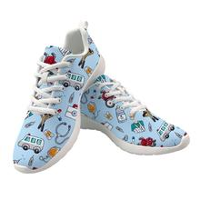 Купить с кэшбэком INSTANTARTS Cute Cartoon Nueses Printed Flats Women Air Mesh Light Nurse Shoes Woman Casual Breathable Sneakers Zapatos de Mujer