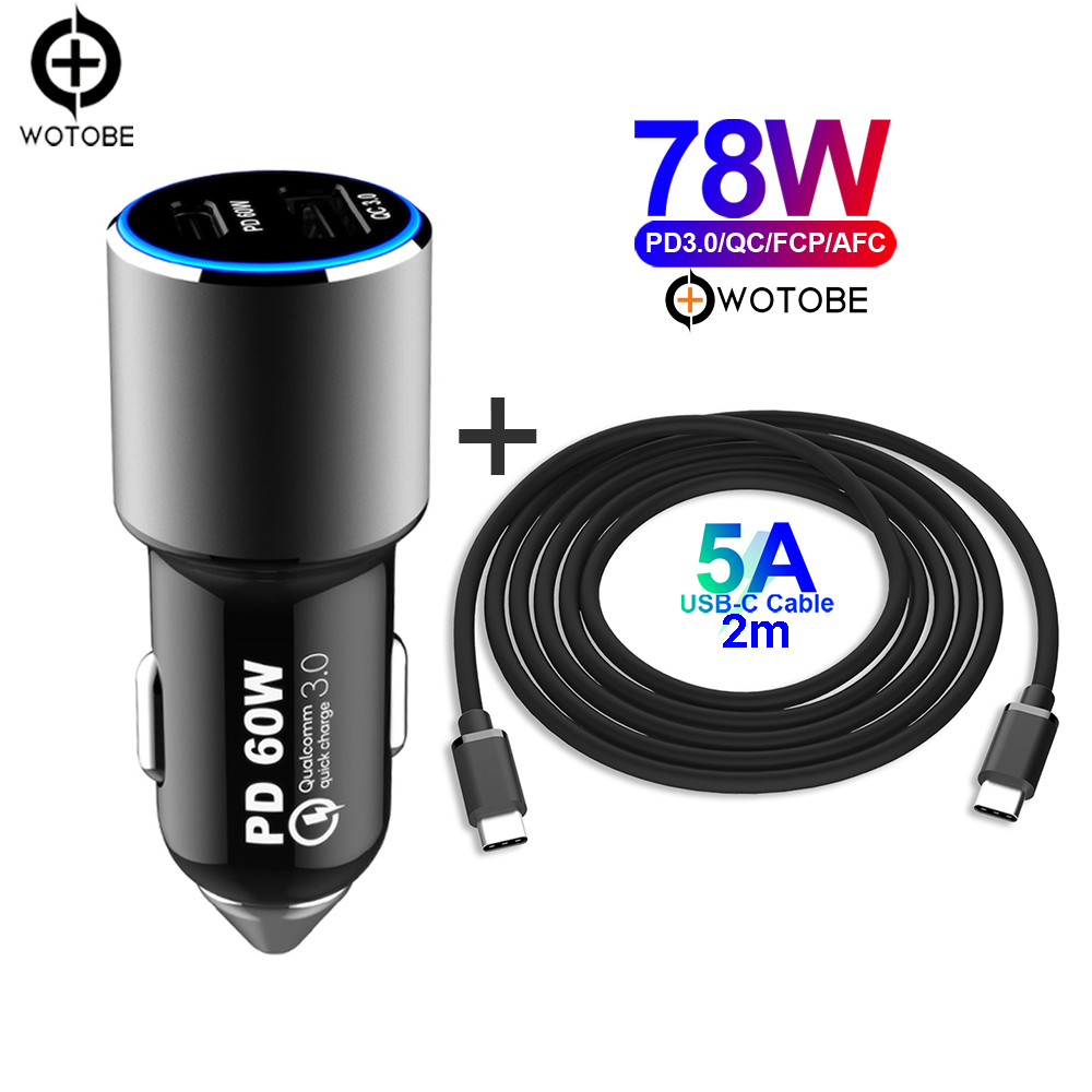 2port 78W super fast car <font><b>charger</b></font>,1 PD <font><b>60W</b></font> 45W <font><b>USB</b></font> C power adapter,1 QC3.0/AFC, 5A <font><b>USB</b></font> C Cable,for xiaomi Macbook/tablet/iphone image