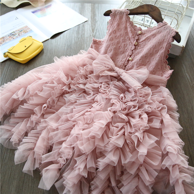 White Lace Little Girl Princess Dress Fluffy Cake Smash Dresses Kids Wedding Party Wear Birthday Tutu Gown Children Clothes 3-8T 6
