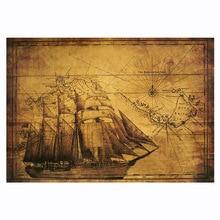 Древний парусник морской линии плакат из крафт-бумаги Ретро Бар Кафе дома Ресторан украшения
